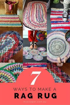 7 Ways to Make a Rag Rug from old ClothesYou can find Rag rugs and more on our Ways to Make a Rag Rug from old Clothes Fabric Rug, Fabric Scraps, Scrap Fabric, Diy And Crafts Sewing, Sewing Projects, Diy Projects, Recycler Diy, Rag Rug Diy, Crochet Rag Rugs