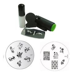 Konad Stamping Nail Art Set Includes Mini Stamper and White Special Polish   TWO Image Plates M83 Chic Kitty   M27 Fish Friends *** Want additional info? Click on the image.
