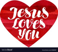Jesus Loves You. Lettering, calligraphy in shape heart. Vector illustration isolated on white background. Download a Free Preview or High Quality Adobe Illustrator Ai, EPS, PDF and High Resolution JPEG versions.