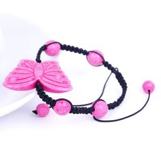 Eozy Clearance :Pink Butterfly Stone Round Ball Beads Charm Bracelet Bangle Nylon Cords