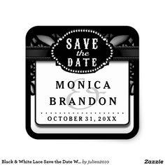 Visit: http://jagifts.us/BWSaveDateSquareWeddingLabelHalloween - Black & White Lace Save the Date Wedding Label Square Sticker by Julie Alvarez Designs. Easily customize & order direct thru Zazzle. #halloweenwedding #savedate