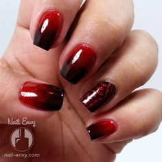 2-color vampy gradient (red to *almost* black) with a striped accent nail.