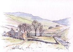 Beckermonds in Langstrothdale ~ sketch ~ John Edwards