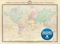 Best Digital World Maps Images On Pinterest Maps Art Print And - World map poster large download