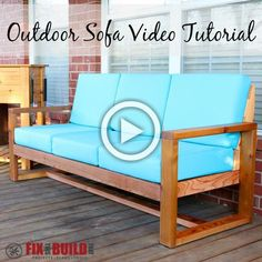 Free video tutorial on how to build this Modern Outdoor Sofa.  It's made from cedar to weather the elements and even has homemade cushions!