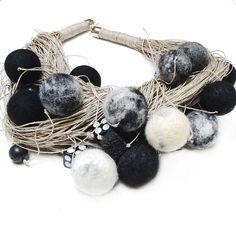 Felt and Linen Necklace by Danfe