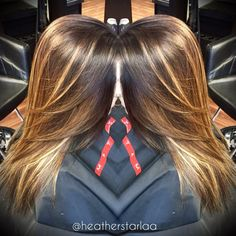 Golden brown base with honey blonde balayage highlights