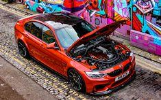 Download wallpapers BMW M3, 4k, F80, tuning, 2017 cars, graffiti, orange m3, german cars, BMW