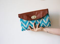IKAT Clutch purse Canvas and vegan leather Chevron by byMART, $48.00