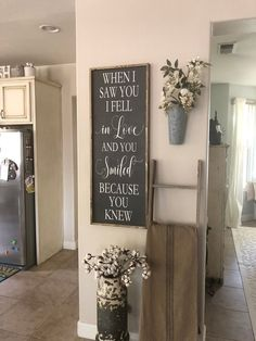 Love Quote | Wooden Love Sign | Framed Quote | When I saw you I fell in love and you smiled because you knew | Marriage Quote | Wooden Saying This is our large love sign that is customized by you, to fit your home perfectly. The sign in this picture has our solid dark gray wood color, white