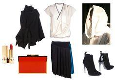 Ana Demeulemeester sleeveless jacket, Bouchra Jarar blouse, Cedric Charlier skirt, Balenciaga boots, Lanvin clutch