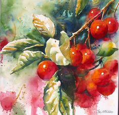 Painting fruits in watercolour.