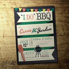 Retro BBQ invitations couples shower invitations, coed engagement party by IndigoAndOrion,