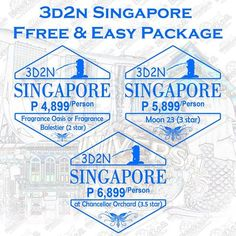 ✴✴ 3D2N SINGAPORE FREE AND EASY PACKAGE ✴✴ P4,899/person TRAVEL DATE: until March 31, 2017 BOOKING DATE: until slots is available INCLUSIONS: ✔ 2 nights accommodation at Fragrance Oasis or Fragrance Balestier (2 star) ✔ Half day Singapore city tour visiting Merlion Park, China Town, Mount Faber, Jewelry Factory Chocolate Shop and Little India  ✔ Roundtrip airport transfers (8:00am to 9:00pm) ++++++++++++++++++++++++++++++ P5,899/person TRAVEL DATE: until March 31, 2017 BOOKING DATE: u