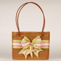 .Pink & Green grossgrain ribbon - Prep bag