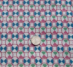 vintage feedsack fabric  GEO CIRCLES by NauvooQuiltCo on Etsy, $3.00