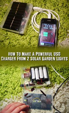 How To Make A Powerful USB Charger From 2 Solar Garden Lights - This uses 2 solar panels from garden lights you can pick up for a buck at the dollar store. The cool thing about this project is he used a few LED's so you can not only charge your devices day or night but use it as a flashlight when you need to.