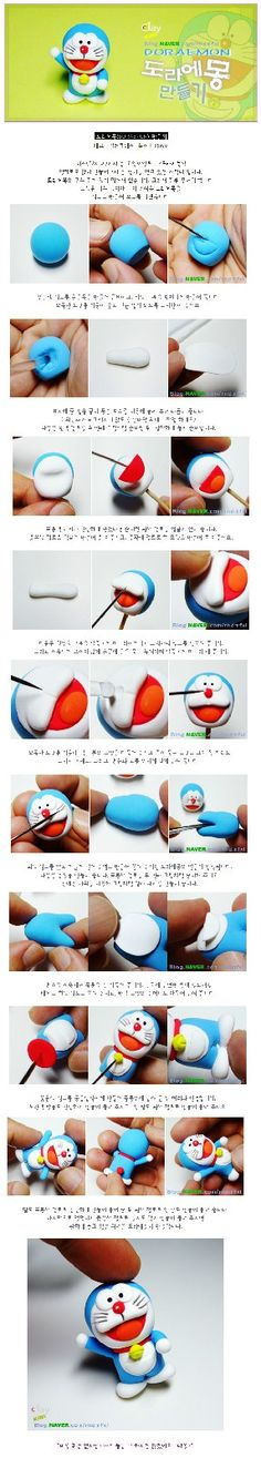 Doraemon tutorial so cute Fimo Clay, Polymer Clay Charms, Polymer Clay Art, Jumping Clay, Diy Arts And Crafts, Clay Crafts, Doraemon Cake, Fondant Figures Tutorial, Clay Design