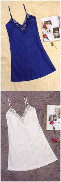 Royal Blue V-neck Lace-up Back Lace Pajama Dress