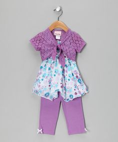 Take a look at this Lavender & Aqua Shrug Set - Toddler by Little Lass on #zulily today!