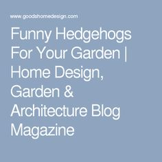 Funny Hedgehogs For Your Garden | Home Design, Garden & Architecture Blog Magazine