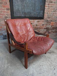 Sam Larsson Brown Leather sling Armchair #larsson #Scandinavian #patina #sling #brown #strap #wooden #tbt #furniturefindingservice #vintage #retro #euvintage