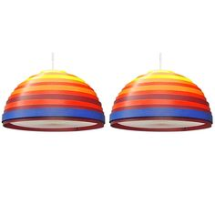 Pair Of Colorful Ceiling Fixtures Signed Vest Made In Austria Circa 1960 | From a unique collection of antique and modern chandeliers and pendants  at http://www.1stdibs.com/furniture/lighting/chandeliers-pendant-lights/