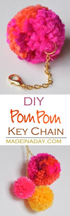 How to make a cute large pom pom key chain to dress up your purse, keys or decor! Super cute trendy craft. Clear instructions of how to use the Clover Pom Pom maker.