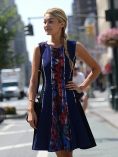 fab dress. Gigi #offduty in NYC. #GigiHadid