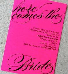 Pink bridal shower invitations!