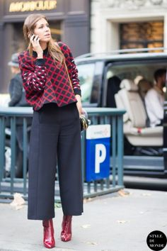 patent boots with culottes and boxy top