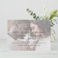 Chic Typography | Horizontal Photo Wedding Invite. Click to customize with your picture and personalized details today. Photo Wedding Invitations, Beautiful Wedding Invitations, Wedding Invitation Sets, Custom Invitations, Invitation Design, Invite, Wedding Planning Inspiration, Reception Signs, Gorgeous Cakes