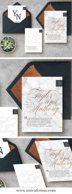 Navy and copper wedding invitations. Modern wedding invitations. Calligraphy wedding invitations. Copper foil. Marble texture. Classic wedding invitation. Blue and copper wedding. Copper bridesmaids dresses. Navy wedding with copper accents. Wedding color schemes. Modern wedding decor. Invitations by Unica Forma