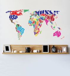 World map decal flags world map wall decal wall sticker colourful typography wall decal gumiabroncs Images