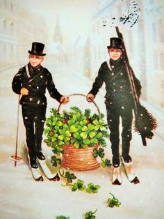 Chimney Sweeps with a basket of goodies