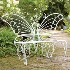 Weather-Resistant White Metal Butterfly Garden Bench from Plow & Hearth Metal Garden Benches, Outdoor Benches, Patio Seating, Patio Loveseat, Unique Plants, Butterfly Chair, Butterfly Design, White Butterfly, Outdoor Projects