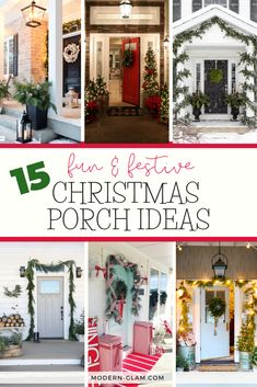 15 fun and festive Christmas porch decorating ideas! Come get inspired with these unique ideas. Everything from farmhouse to traditional and even colorful front porch christmas ideas! Christmas Porch, Christmas Mantels, All Things Christmas, Christmas Holidays, Christmas Ideas, Modern Christmas, Primitive Christmas, Outdoor Christmas, Country Christmas