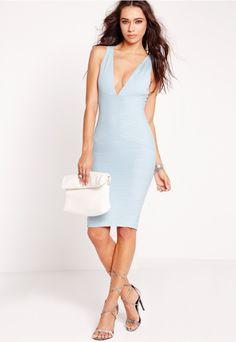Plunge Bandage Bodycon Dress Blue - Missguided