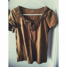 Brown vintage looking Ann taylor top Super cute Great condition shirt! Ann Taylor Tops