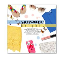 """""""Summer Brights: Blue & Yellow"""" by lauren-a-j-reid ❤ liked on Polyvore featuring River Island, Dolce&Gabbana, Aquazzura, Alice + Olivia, Under One Sky, Bobbi Brown Cosmetics, Gucci and Kate Spade"""