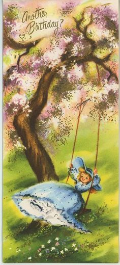 VINTAGE GIRL DRESS PANTALOONS TREE SWING SPRING PRINT 1 WILLIAMSBURG GARDEN CARD in Collectibles, Paper, Other Paper Collectibles | eBay
