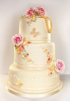 wedding cake, yellow bee company  vintage