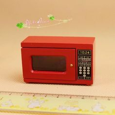 1:12 Dollhouse Miniature Furniture Kitchen Wood red The microwave oven 60150 #Unbranded