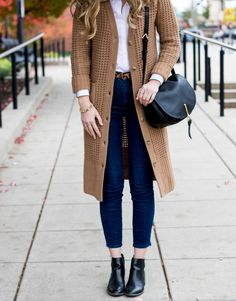 Fall outfit idea with long cardigan | chunky fall cardigan with boots | lands' end cozy sweater