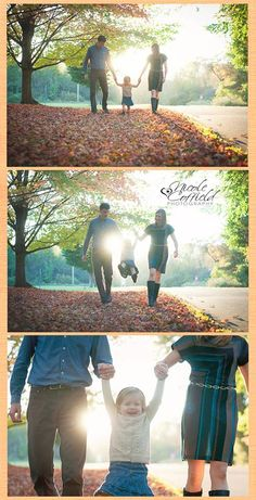 Fall family photo session of 3 using leaves and backlit - autumn family photography