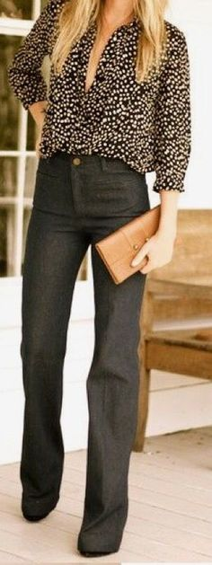 Stitch Fix Fashion 2017! Ask your stylist for something like this in your next fix, delivered right to your door! #sponsored #StitchFix  Black flare jeans, black & white button up with low neck line