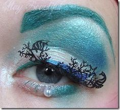mermaid makeup  Need those lashes! Maybe without the pearl under the eye... 'cause that would drive me bonkers...