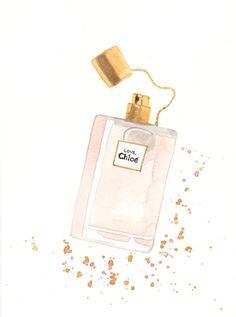 Love de Chloé Eau Florale Parfum Fragrance  acuarela por MilkFoam, $35.00