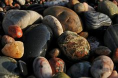 I love to collect buckets full of rocks and sea glass. Lake Superior Agates, Petoskey Stone, Big Lake, Lake Michigan, Great Lakes, Rocks And Minerals, Buckets, Beaches, Road Trip