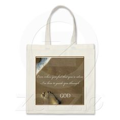 FOOTPRINTS of GOD in SAND Canvas Bags
